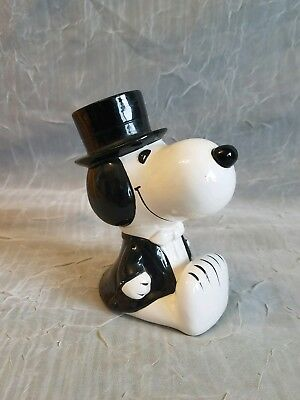 "Vintage Snoopy Ceramic 5"" Bank Top Hat & Tux With Stopper"