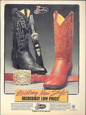 Justin Proudly Introduces The Senator, 1982 Justin Boots Magazine Print Ad