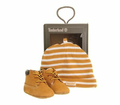 Timberland 9589R Infants Crib Boots Plus Hat Wheat Babies Gift Set rrp £40