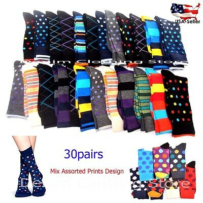 30pairs Wholesale Lot Women's Mix Assorted Printed Design Crew Socks Winter 9-11