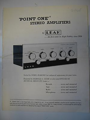"""LEAK STEREO POINT ONE ORIGINAL BROCHURE, VARISLOPE, STEREO 20 & 60,8x10x8"""" PAGES"""