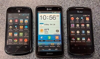 Lot of 3 Android Pantech, Misc AT&T NON WORKING DISPLAY DUMMY PHONES