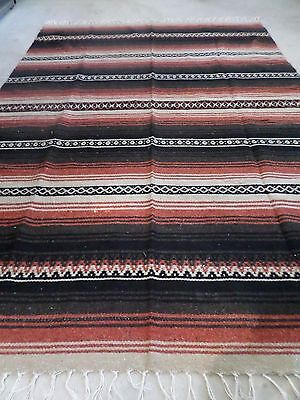 """X Large Thick Quality Mexican Woven Brown Copper Blanket 56x82"""" Beach Auto Yoga"""