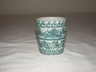 NYMOLLE ART HOYRUP LIMITED EDITION CUP DENMARK HORSES & SHIPS GREEN & WHITE 4-5a