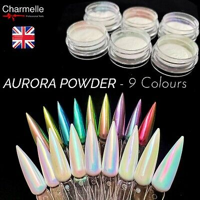 AURORA Nail Powder AB Colors! UNICORN RAINBOW CHROME Mirror Effect Mermaid Nails