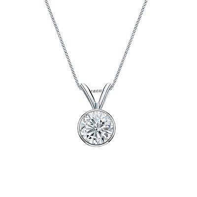"""2 Ct Round Cut Solid Real 14k White Gold Solitaire Bezel Pendant 18"""" Necklace"""
