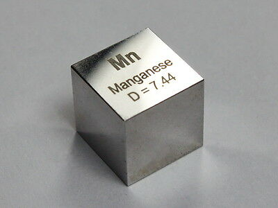 Manganese Metal - High precision density cube 10x10x10mm - Hand Made in Germany