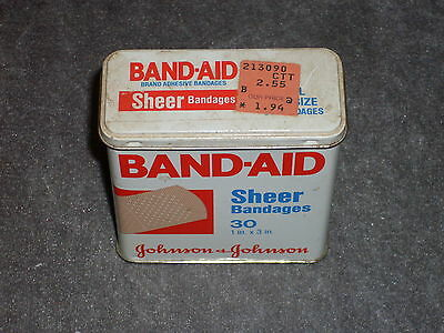 Vintage Band-Aid Tin.  Johnson & Johnson Sheer Bandage Tin, 30 ct, #4626, 1983