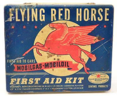 MOBILOIL MOBILGAS Flying Red Horse First Aid Kit Tin For Cars - #R-02-03-01