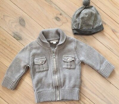 Pure Baby Organic Cotton Grey Zip Through Jumper & Wool Blend Beanie Sz 6-12M/0
