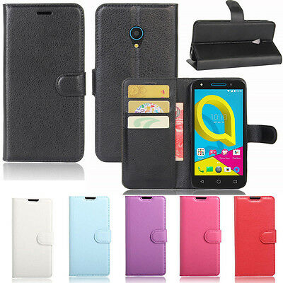 Premium Leather Wallet TPU Case Cover For Alcatel U5 + Screen Protector