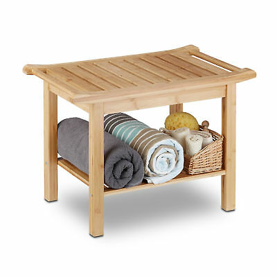 Bathroom Bamboo Bench with Storage Shelf, Natural Wood, Hallway, Shoe Rack Bench