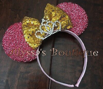 Minnie Mouse Tiara Pink Ears With Gold Sparkly Bow Headband Cute Shiny Sequin