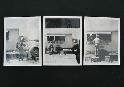 Original lot of 3 Red Cross Clubmobile pictures photo's