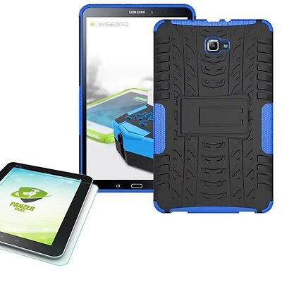 Hybrid Outdoor Case Blue for Samsung Galaxy Tab a 10.1 T580 +0.4 Tempered Glass