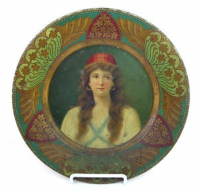 IRENE Vienna Portrait Royal Art PLATE CHAS W. SHONK Co. 105 LITHO TIN Tray 10""