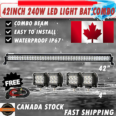 """42Inch LED Light Bar Combo +4x4"""" CREE PODS OFFROAD SUV 4WD ATV FORD JEEP 40"""