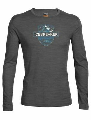 Icebreaker Oasis LS Crewe Alpine Crest, Merino Wool Thermal Top, Mens