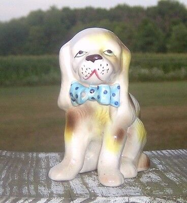 Vintage  Retro Brown Spotted Beagle Dog Blue Bow Planter Cute! # S1042