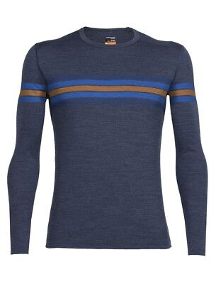 Icebreaker Oasis LS Crewe Coronet Stripe Merino Wool Thermal Top, Mens