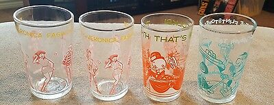 Lot of 4 Vintage Jelly Jar Glasses Flintstones Archies & Looney Tunes Excellent