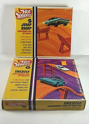 Vintage Lot of 1960s Mattel Hot Wheels Jump Ramp and Trestle Accessory Packs