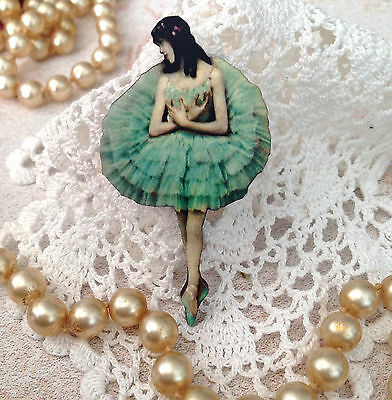 BROOCH NEW Ballerina wood pin Romantic jewellery Ballet gift Vintage jewelry