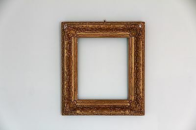 Ornate 19th Century Antique Timber and Gesso Gold Picture Frame