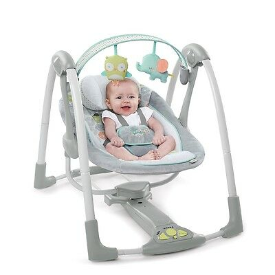 Ingenuity Hoots and Hugs Swing, Portable Baby Musical Rocking Swing