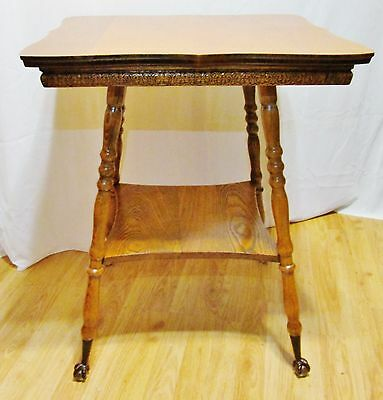 Antique Victorian wood Oak Brass glass Ball Claw foot end side Parlor table