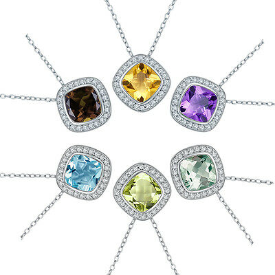 Cushion cut 8mm Multi-color Gemstone Solid 925 Sterling Silver Pendant Necklace