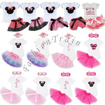Toddler Girls 1st First Birthday Dress Kids Romper Tops Tutu Skirt Party Outfit