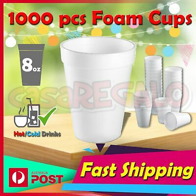 1000pcs Foam Cups Polystyrene Coffee Styrofoam Disposable Cup Insulated Bulk 8oz