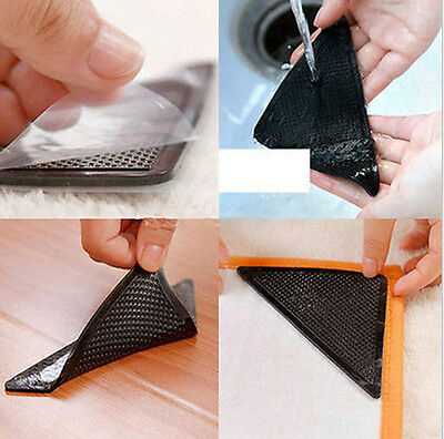 Rug Carpet Mat Grippers Non Slip Skid Reusable Washable Grip 4pc/set Black