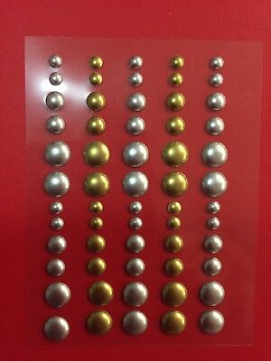 NEW• 3D ENAMEL DOTS SILVER & GOLD Pkt 60 For Card making Scrapbook Arts & Crafts