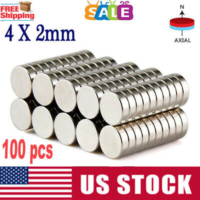 lot 100 4mm X 2mm Neodymium Disc Strong Rare Earth N35 Small Fridge Magnets