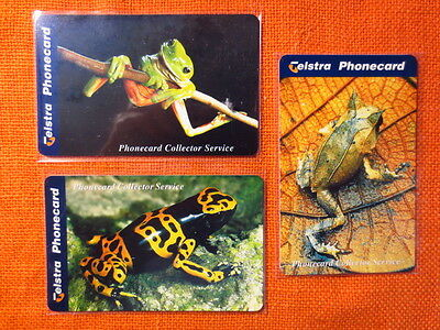 3x Telstra Phonecards, FROGS Limited Edition, Aug 1998, New Unused