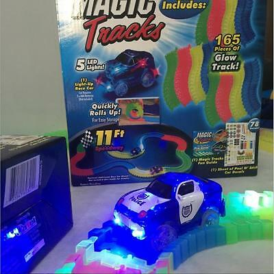 Glowing Race Car Track Set Mega In The Dark Track With Light Up LED Car Toy