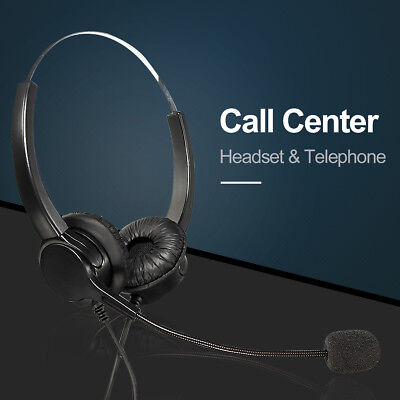 Call Center Office Wired Corded Headset Handsfree Telephone Microphone RJ11
