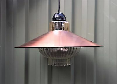 Vintage retro hanging light - Atomic Flying Saucer anodised copper