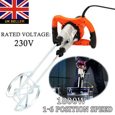 New 1800W Pro Mixer Stirrer Twin Paddle for Plaster Paint Cement Mortar