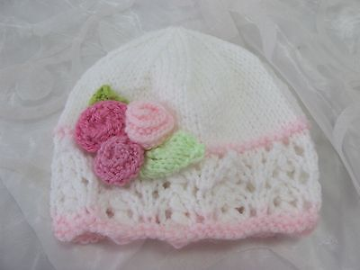Hand Knitted Baby Beanie Hat Pink White  Lacy Rose  Newborn-3-4Yrs New Girl