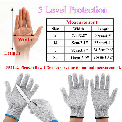 Pair Safety Level 5 Cut Proof Stab Resistant HPPE Mesh Work Butcher Gloves S-XL