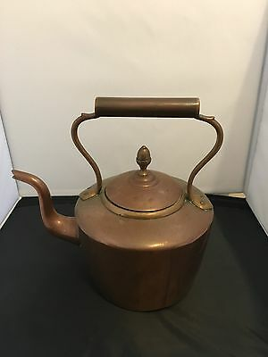 Heavy Antique Vintage Oval Copper Kettle