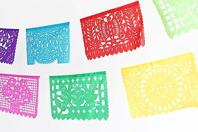 MesaChic Mexican PLASTIC Papel Picado Folkloric Paper Banner
