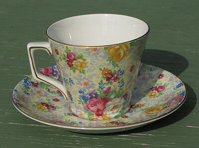 Antique CHINTZ CUP & SAUCER  Rose Time Pattern 1950's RARE!