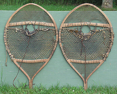 Antique Ojibwa or Huron BEARPAW SNOWSHOES RARE!
