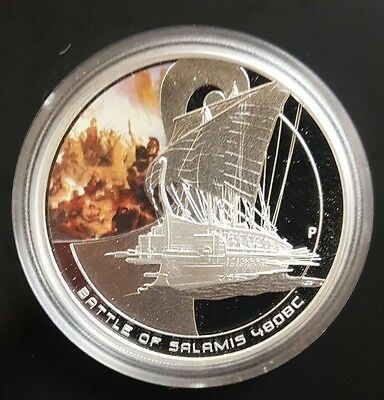 2010 Cook Islands, Famous Naval Battles - Salamis - 1oz Silver Proof Coin....