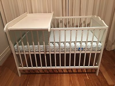 Ikea Hensvik cot and Vyssa mattress. Plus Over-the-bed Change Table