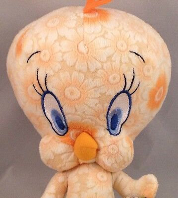 "Tweety Bird Orange Floral Plush 13"" Warner Bros. Looney Tunes Stuffed Toy"